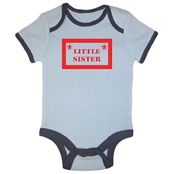 So Relative! Baby Girls' Little Sister (Red Vintage Box Design) Blue Ringer Bodysuit (Blue Ringer, 18-24 Months)