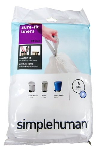 simplehuman Trash Can Liner B, 6 Liters/1.6 Gallons, 30-Count Bags (Pack of 4)