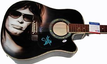 Steven Tyler Signed 12-String Airbrush Guitar & Video Proof PSA - Signed Guitars