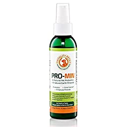 Pro-min All Natural 4fl Oz Spray-on Meals Pet Probiotic Supplement for Dogs and Cats with 74 Natural Minerals and Calcium Added. Tasteless, Odorless, and Clear. USA FDA Registered Manufacturer. Eliminates Diarrhea, Irregularity, Vomiting, Upset Stomach, S