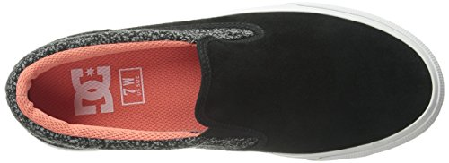 DC Women's Trase Slip-On SE Skate Shoe,Black/C Pink/Textile,10 M US