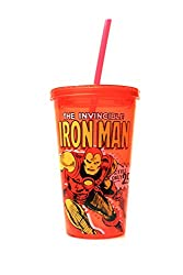 Silver Buffalo MC21087 Marvel Iron Man Action BPA-Free Plastic Cold Cup with Lid and Straw, 16 oz., Red
