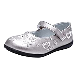 Orgrimmar Girls Genuine Leather Flowers Embroidery Flat Princess Shoes (Toddler, Little Kid) (Little kid 2, silver)