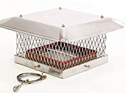 Rockford Chimney Supply Stainless Steel Premier Chimney Damper Cap with Mounting Bolts, 13x13 Inch