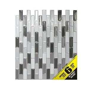 Smart Tiles 6 - Piece 9.13 Inch x 10.25 Inch Peel and Stick Murano Metallik Mosaik ,Backsplashes