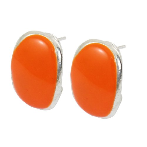 Rosallini Orange Oval Shape Sliver Tone Stud French Clip Earrings For Lady