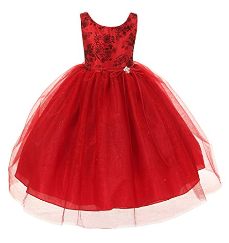 Cinderella Couture Little Girls' Flocked Glitter Tulle Christmas Pageant Dress