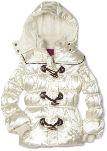 Velvet Chic Girls 7-16 Toggle Hooded Coat, Cream, 7/8