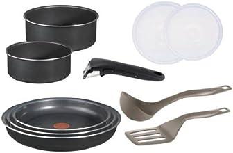 Tefal L0369602 Ingenio 5 - Batterie de cuisine Set de 10 Pièces Antiadhésif Aluminium Noir : 2 casseroles (16/18 cm) + 3 poêles (20/22/26 cm) + 2 couvercles hermétiques (16/18 cm) + 1 spatule à angle + 1 louche + 1 poignée amovible