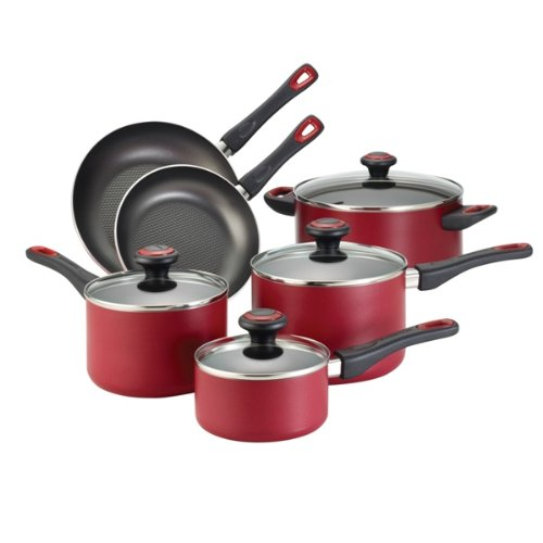 Farberware High Performance Aluminum Nonstick 10-Piece Cookware Set, Red