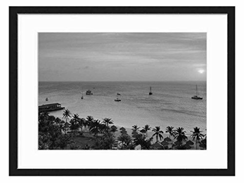 radisson-resort-on-aruba-at-sunset-art-print-wall-solid-wood-framed-picture-black-white-20x14-inches