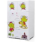 TheTickleToe DIY Thickened Plastic Frog Prince Cartoon Cute Chest Of Drawers Closet Wardrobe Organizer Kids Boy Girl Room Baby Nursery Decor DIY 4 Layers Drawers With 2 Locks White