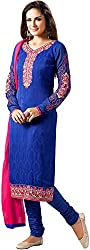 Shenoa Women's Faux Georgette Unstitched Dress Material(9507, Blue)
