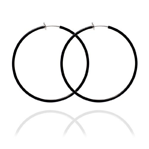 Sexy Spring Loaded Black Hoops - 5cm