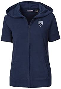 NCAA Emory University Ladies Short Sleeve Full Zip Polar Fleece Hoodie by Oxford