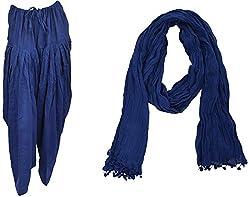 Bhagwati Craft Women's Cotton Regular Fit Patiala With Dupatta (Blue ,SD010 )