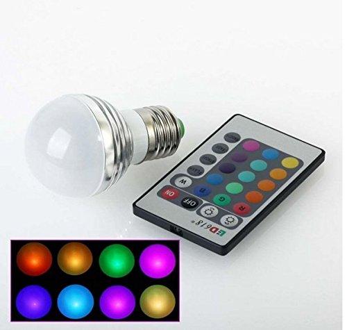 RXYYOS E27 3W LED RGB Licht farbwechsel Lampe Birne und 24key IR-Fernbedienung (220lm, AC 85 - 265V, 50 X 81mm)