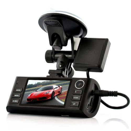 "Hd Dual-Camera Car Dvr ""Napravljat"" - Gps Logger, G-Sensor, Night Vision, Hdmi Output, 4X Zoom"