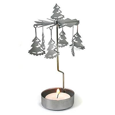 Christmas Tree Nordic Festive Tea Light Candle Carousel - Silver by Maingate Ltd