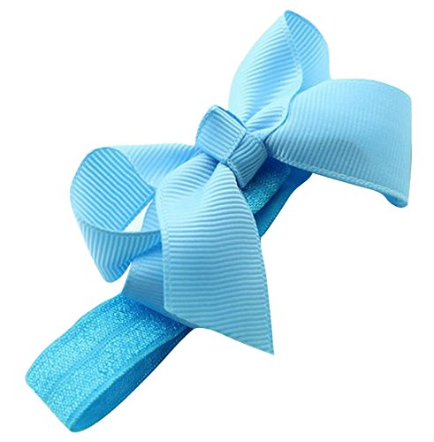 PinkXenia Satin HairBow Elastic Newborn BabyGirl Blue Headbands