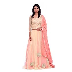 Peach net lehenga and peach embroidered blouse with georgette duppatta