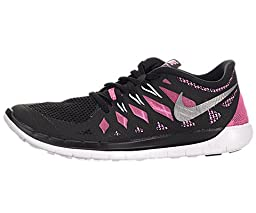 Nike Kids Free 5.0 (GS) Black/Mtllc Silver/Pnk Glw/Wht Running Shoe 4 Kids US