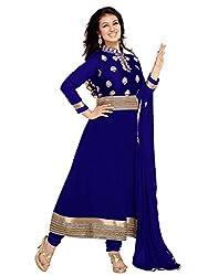 Varanga Blue Faux georgette anarkali semi stitched salwar suits KFASH11001-B