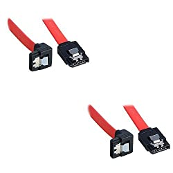 ADMI (2 Pack Sata 3 Data Cable) (40cm) Storite SATA III (SATA 3) cable Red with Locking Latch straight to Right Angle 90 Degree   compatible up to S-ATA/600   Serial ATA   1,5GBs/3GBs/6GBs (backward compatible)   S-ATA Cable l Compatible with Sata I and Sata II