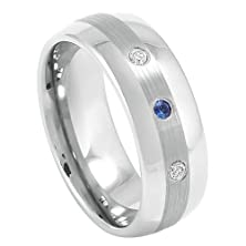 buy 0.21Ct Blue Sapphire And White Diamond 8Mm High Polished Brushed Cener Three-Stone Cobalt Chrome Comfort Fit Wedding Band For Her And For Him.