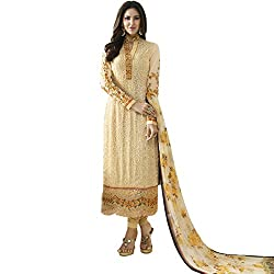 Vasu Saree Beige Color Straight Cut Party Wear Georgette Suit