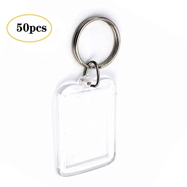 snailmon 50pcs Acrylic Photo Keychain Custom Frames, Personalized Snap in Insert Clear Blank DIY Picture Frames-2x1.3 Size (Color: Pack of 50, Tamaño: 2x1.3)