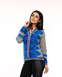 Perroni Women's Embroidered Cardigan (Blue, L Size)