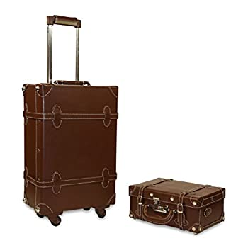 Vintage Trunk Antique Hardside Luggage Suitcase Set of 2