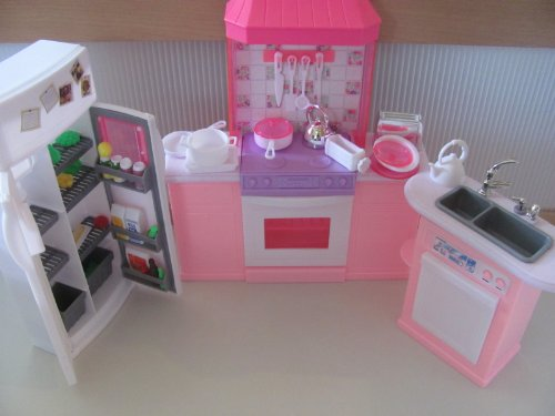Barbie size dollhouse furniture kitchen set for Kitchen set name