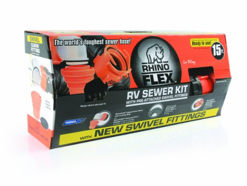 Camco 39761 RhinoFLEX 15' Sewer Hose Kit with Swivel Fitting