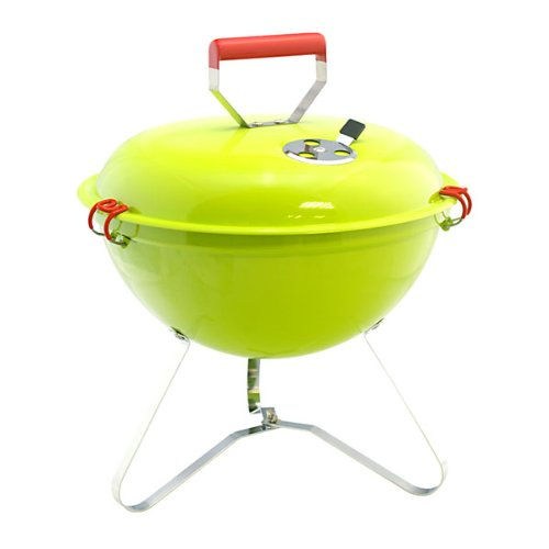 HomeStore Camping Portable Light Weight Grill Charcoal Barbecue in lime Green, fun for BBQ Party