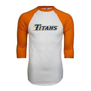 Cal State Fullerton White/Orange Raglan Baseball T Shirt 'Titans Distressed' - Small