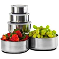 10 Piece Home Collections BPA Free Stainless Steel Clear Storage Bowl Set