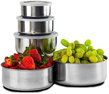 10-Piece Home Collections Stainless Steel Storage Bowl Set