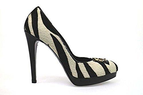scarpe donna BRACCIALINI 38 decolte' nero bianco cavallino AN58-D