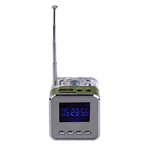Vktech Portable Usb Multimedia Speaker With Fm Radio Led Screen For Pc Cell Phone (Green)