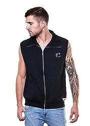 Enquotism Sleeveless Zipper High Neck Collar Sweatshirt