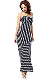 Striped Halter Neck Maxi Dress