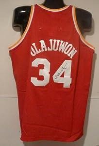 Hakeem Olajuwon Autographed Houston Rockets Red Mitchell & Ness Size 52 Jersey by DenverAutographs