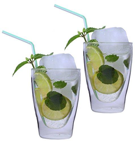 AKTION: 2x 280ml XL doppelwandige Latte Macchiato-Gläser / Cocktailgläser / Eistee-Gläser / Saft- und Wassergläser - edle Thermogläser mit Schwebeeffekt von Feelino, 2x 280ml