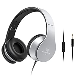 Headphones,Sound Intone Headphones with Microphone On Ear Noise Isolating Headsets for Iphone 6/6s/6 Plus Android Device,Laptop,Tablet(Grey)