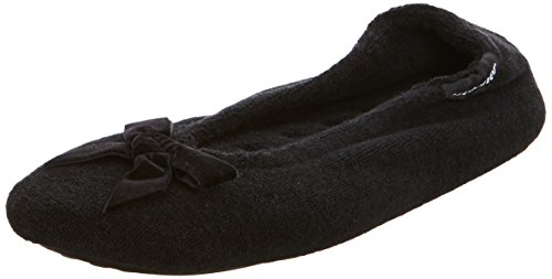 isotoner-isotoner-terry-ballerina-slippers-damen-hausschuhe-schwarz-black-39-eu