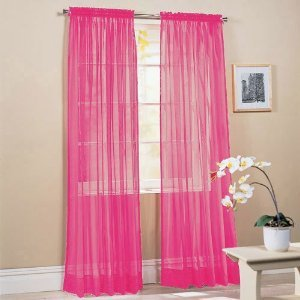 hot pink color voile window panel solid sheer valance curtains 95