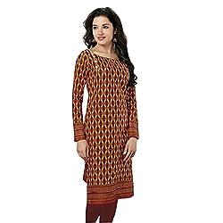 Stylish Girls Women Cotton Printed Unstitched Kurti Fabric (SG_K109_Brown_Free Size)