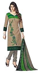 Beige Color Cotton straight Salwar Suit Unstitched Dress Materials